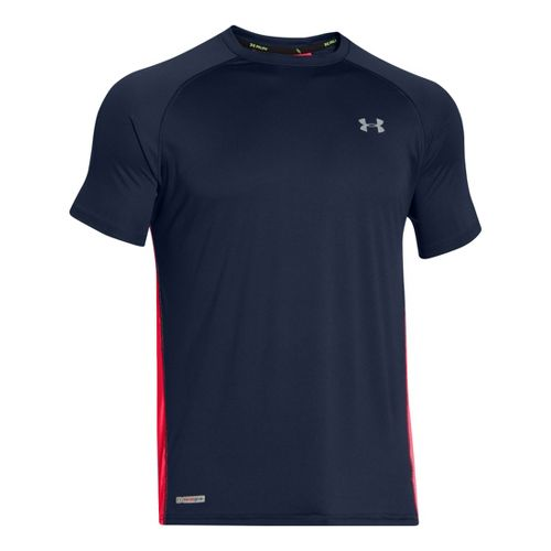 Mens Under Armour Flyweight Run T Short Sleeve Technical Tops - Academy/Red XXL