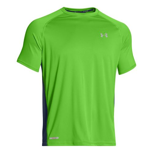 Mens Under Armour Flyweight Run T Short Sleeve Technical Tops - Gecko Green/Academy M