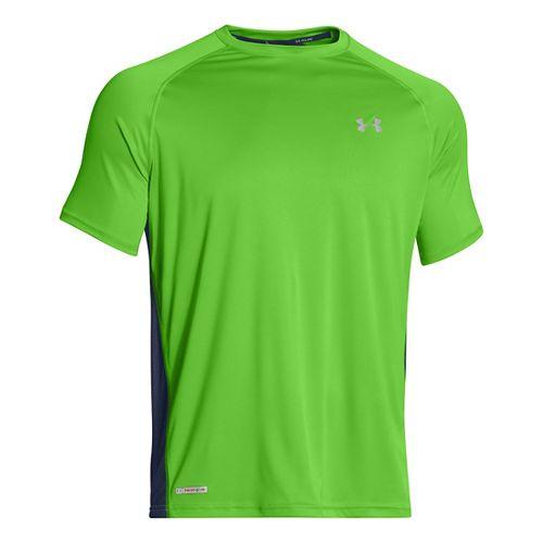 Mens Under Armour Flyweight Run T Short Sleeve Technical Tops - Gecko Green/Academy XL
