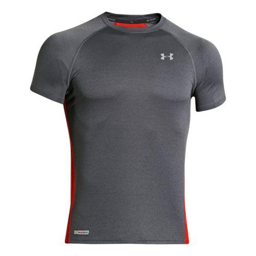 Mens Under Armour Flyweight Run T Short Sleeve Technical Tops - Graphite/Orange S