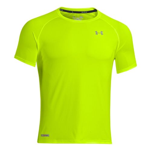 Mens Under Armour Flyweight Run T Short Sleeve Technical Tops - High Vis Yellow/Reflective M ...