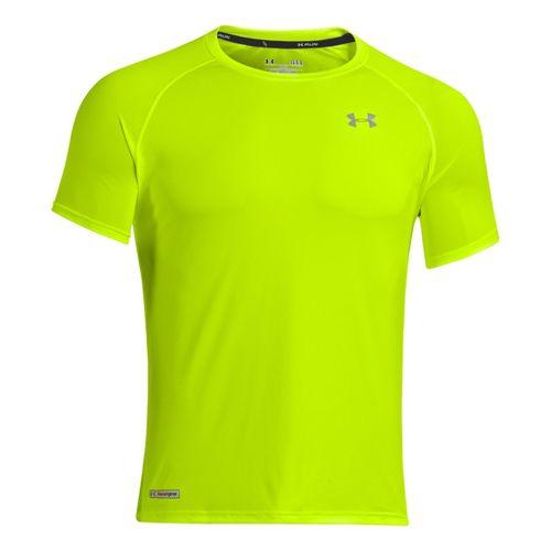 Mens Under Armour Flyweight Run T Short Sleeve Technical Tops - High Vis Yellow/Reflective XXL ...