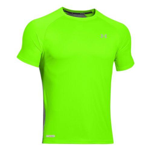 Mens Under Armour Flyweight Run T Short Sleeve Technical Tops - Hyper Green/Graphite S