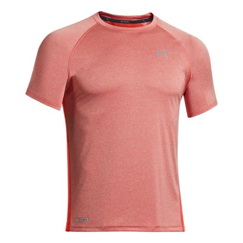 Mens Under Armour Flyweight Run T Short Sleeve Technical Tops - Orange/Graphite M
