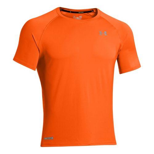 Mens Under Armour Flyweight Run T Short Sleeve Technical Tops - Orange/Reflective M