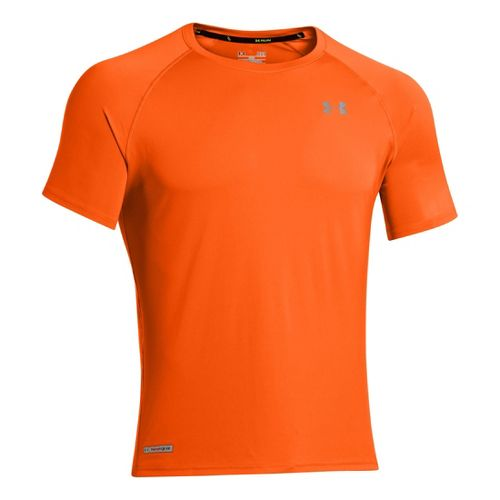 Mens Under Armour Flyweight Run T Short Sleeve Technical Tops - Orange/Reflective S