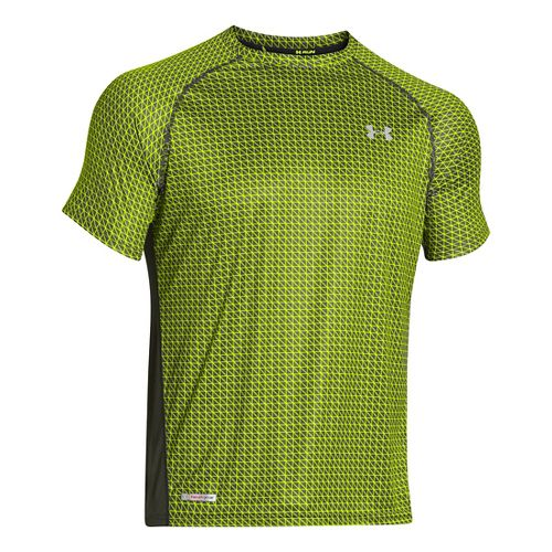Mens Under Armour Flyweight Run T Short Sleeve Technical Tops - Rifle Green/Hi-Viz Yellow L ...