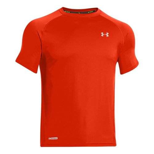 Mens Under Armour Flyweight Run T Short Sleeve Technical Tops - Volcano/Reflective XXL