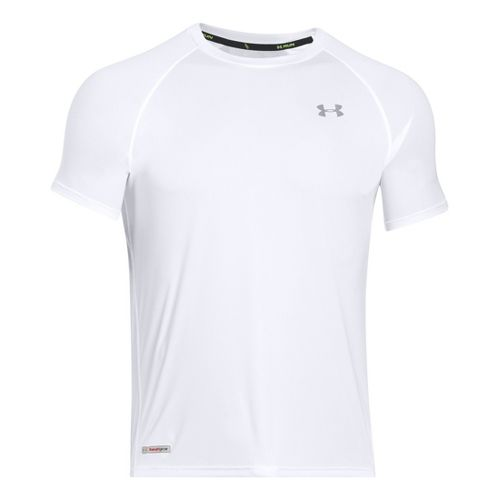 Mens Under Armour Flyweight Run T Short Sleeve Technical Tops - White/Reflective L