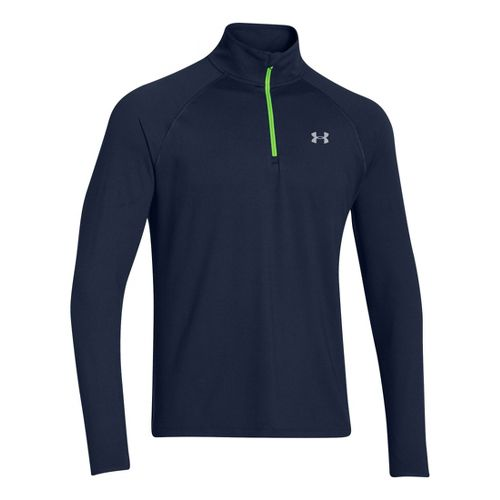 Mens Under Armour Heatgear Flyweight Run Long Sleeve 1/2 Zip Technical Tops - Academy/Gecko ...