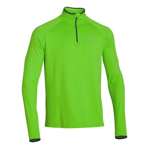 Mens Under Armour Heatgear Flyweight Run Long Sleeve 1/2 Zip Technical Tops - Gecko ...