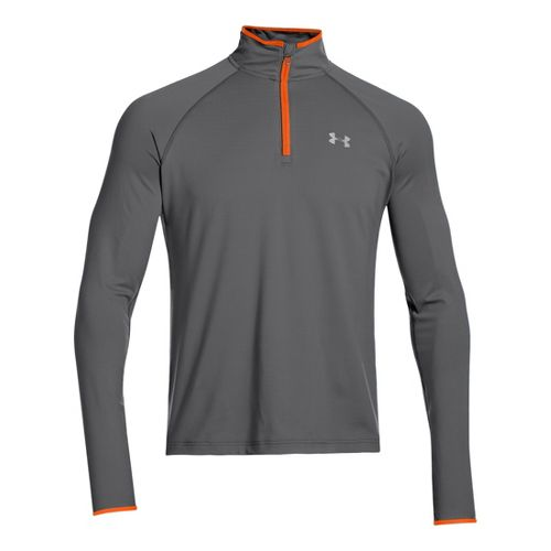Mens Under Armour Heatgear Flyweight Run Long Sleeve 1/2 Zip Technical Tops - Graphite/Orange M ...