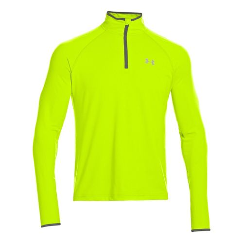 Mens Under Armour Heatgear Flyweight Run Long Sleeve 1/2 Zip Technical Tops - High Vis ...