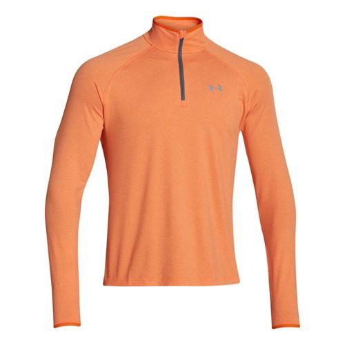 Mens Under Armour Heatgear Flyweight Run Long Sleeve 1/2 Zip Technical Tops - Orange/Graphite L ...