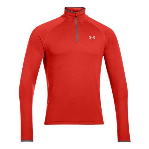 Mens Under Armour Heatgear Flyweight Run Long Sleeve 1/2 Zip Technical Tops - Orange/Reflective ...