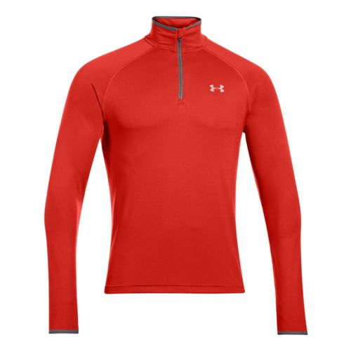 Mens Under Armour Heatgear Flyweight Run Long Sleeve 1/2 Zip Technical Tops - Orange/Reflective ...
