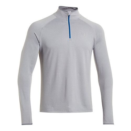 Mens Under Armour Heatgear Flyweight Run Long Sleeve 1/2 Zip Technical Tops - Steel/Scatter M ...
