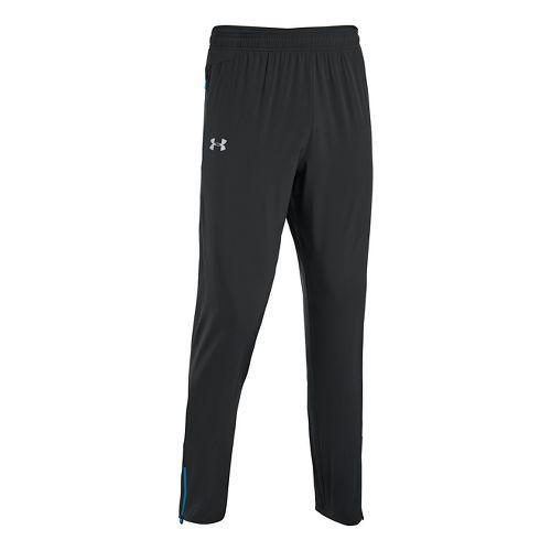 Mens Under Armour Heatgear Flyweight Run Full Length Pants - Black/Electric Blue M