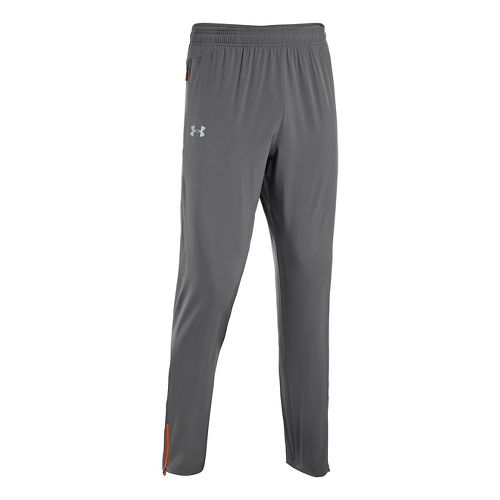 Mens Under Armour Heatgear Flyweight Run Full Length Pants - Graphite/Orange L