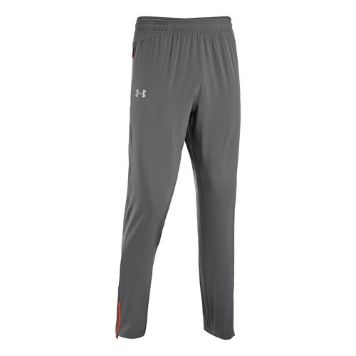 Mens Under Armour Heatgear Flyweight Run Full Length Pants - Graphite/Volcano L