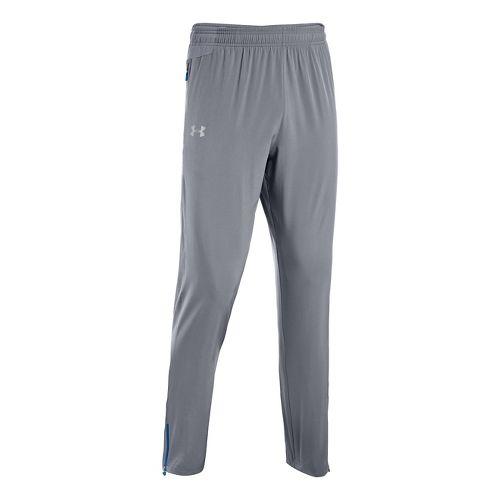 Mens Under Armour Heatgear Flyweight Run Full Length Pants - Steel/Scatter S
