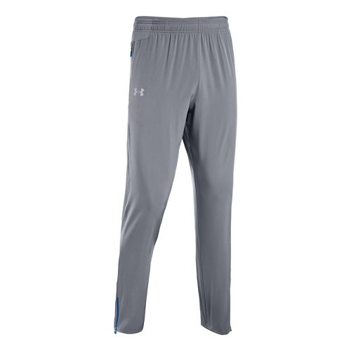 Mens Under Armour Heatgear Flyweight Run Full Length Pants - Steel/Scatter XL