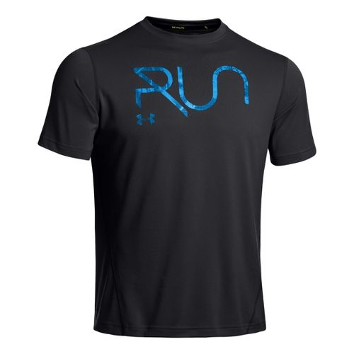 Mens Under Armour All Over Grid T Short Sleeve Technical Tops - Black/Electric Blue XXL ...