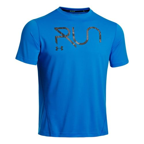 Mens Under Armour All Over Grid T Short Sleeve Technical Tops - Electric Blue/Black XXL ...