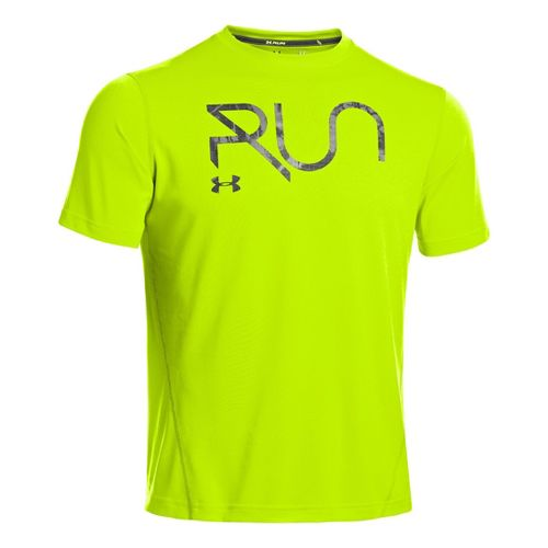 Mens Under Armour All Over Grid T Short Sleeve Technical Tops - High Vis Yellow/Graphite ...