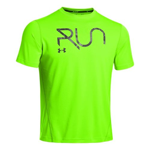 Mens Under Armour All Over Grid T Short Sleeve Technical Tops - Hyper Green/Aluminum S ...