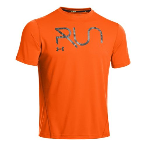 Mens Under Armour All Over Grid T Short Sleeve Technical Tops - Orange/Charcoal M