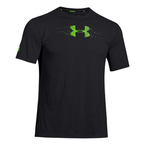 Mens Under Armour Sick Kick T Short Sleeve Technical Tops - Black/Hyper Green L