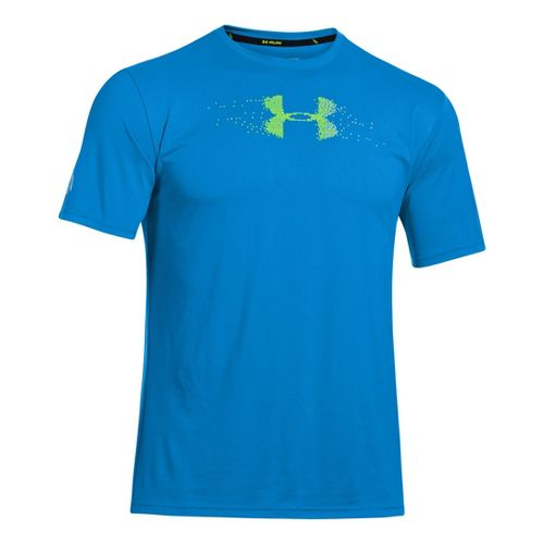 Mens Under Armour Sick Kick T Short Sleeve Technical Tops - Electric Blue/High Vis Yellow ...