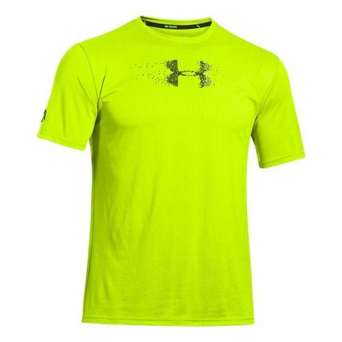 Mens Under Armour Sick Kick T Short Sleeve Technical Tops - High Vis Yellow/Black XXL ...