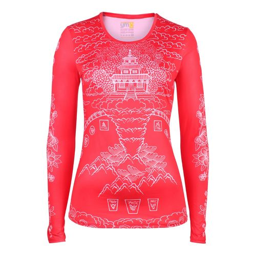 Womens YMX Core Long Sleeve No Zip Technical Tops - Elemental Mountain Red L