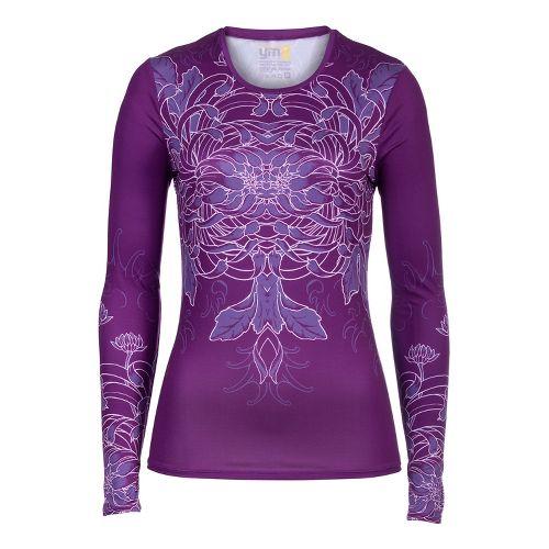 Womens YMX Core Long Sleeve No Zip Technical Tops - Infinite Flower Purple XS