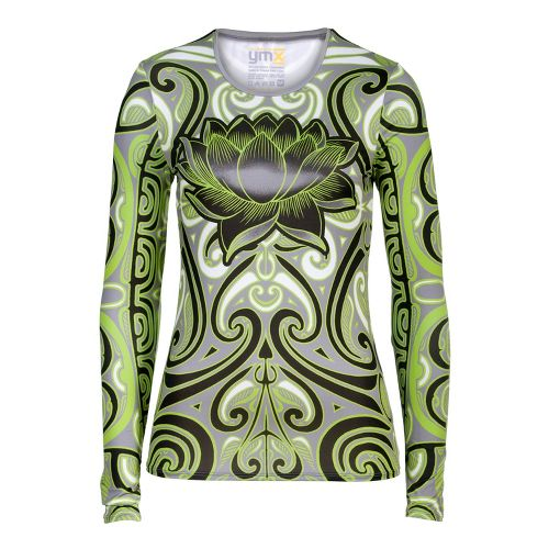Womens YMX Core Long Sleeve No Zip Technical Tops - Infinite Tribal Green L