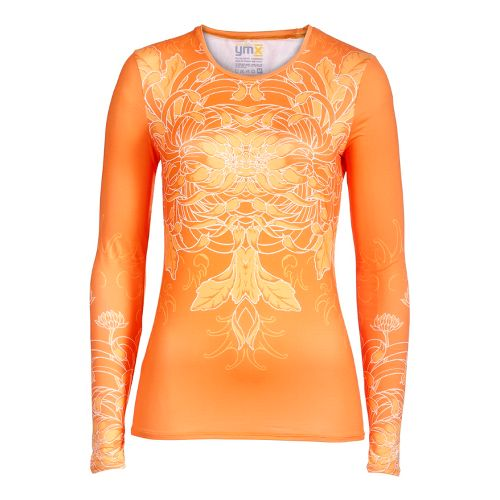 Womens YMX Core Long Sleeve No Zip Technical Tops - Infinite Flower Mango S