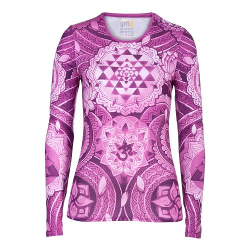 Womens YMX Core Long Sleeve No Zip Technical Tops - Infinite Geometry Pink S