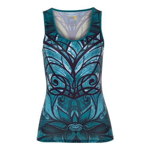 Womens YMX Scoop Neck Tanks Technical Tops - Butterfly Emerald M