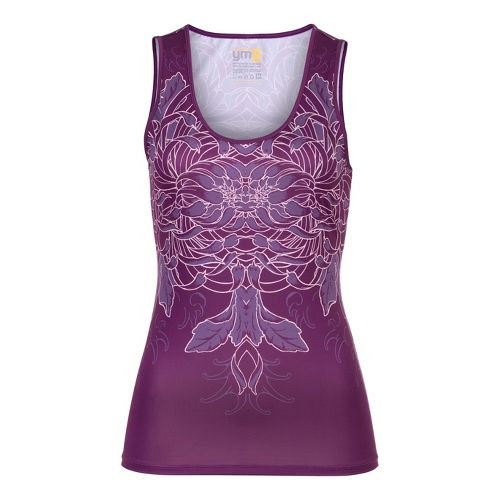 Womens YMX Scoop Neck Tanks Technical Tops - Infinite Flower Purple M