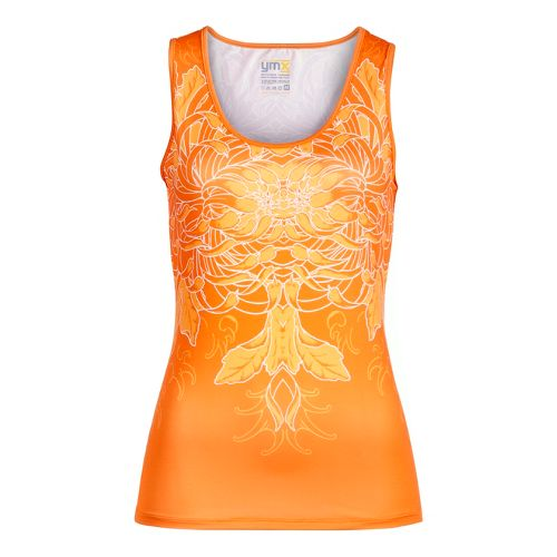 Womens YMX Scoop Neck Tanks Technical Tops - Infinite Flower Mango M
