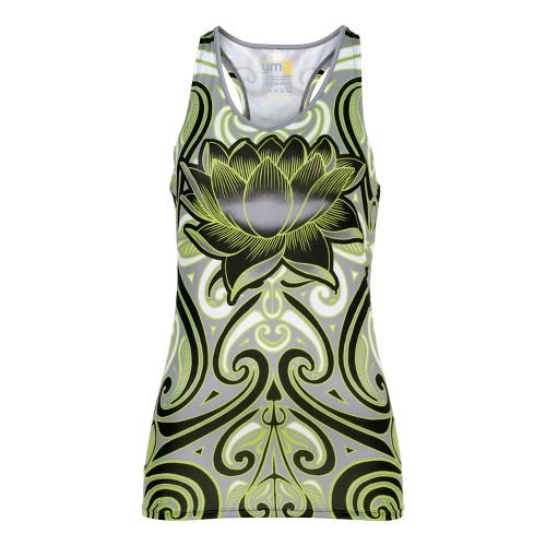 Womens YMX Racerback Pocket Tanks Technical Tops - Infinite Tribal Green L