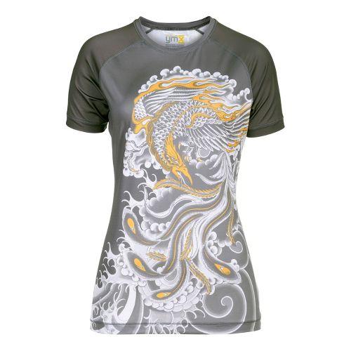 Womens YMX Raglan Short Sleeve Technical Tops - Infinite Phoenix Grey XS