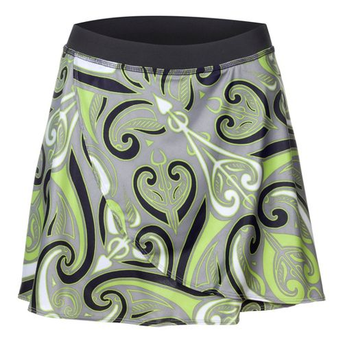 Womens YMX Wrap Skort Fitness Skirts - Infinite Tribal Green XS