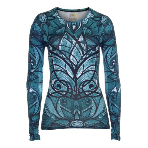 Womens YMX Core Long Sleeve No Zip Technical Tops - Essential Butterfly Emerald M