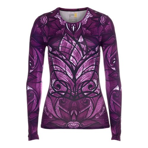 Womens YMX Core Long Sleeve No Zip Technical Tops - Essential Butterfly Plum S