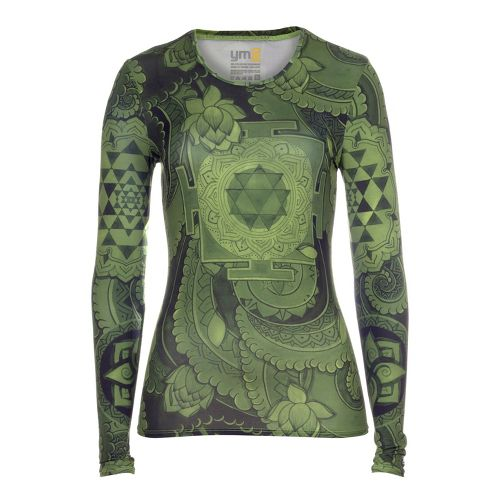 Womens YMX Core Long Sleeve No Zip Technical Tops - Essential Geometry Pesto S