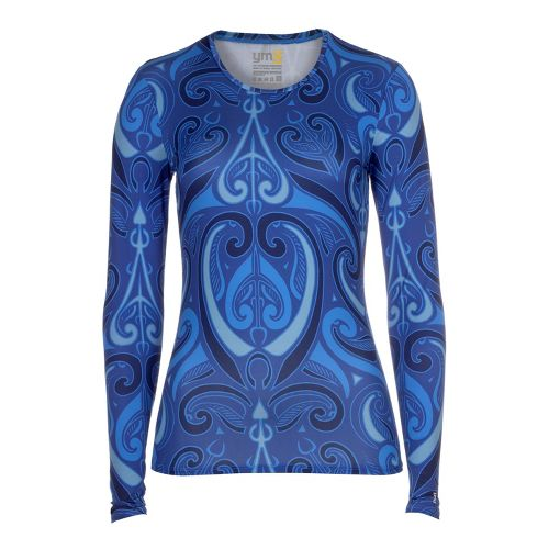 Womens YMX Core Long Sleeve No Zip Technical Tops - Essential Tribal Sapphire XS