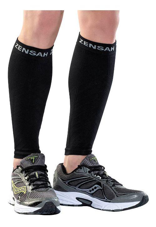 Zensah Compression Leg Sleeves Injury Recovery - Black L/XL